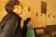 Artist Denis Pondruel and Irene Biolchini observing the interior of the Church of St. Peter in Chains